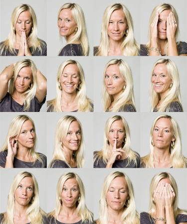 gestos de la cara: Diecis�is expresiones faciales de una mujer