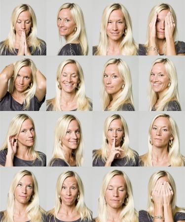 incertezza: Sedici le espressioni del volto di una donna  Archivio Fotografico