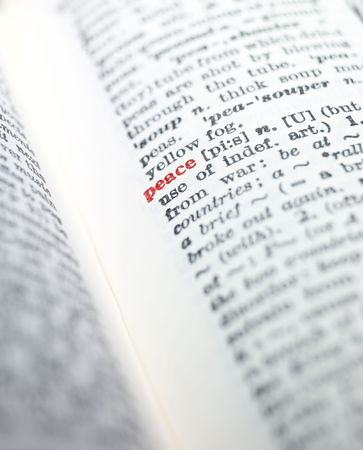 synonym: The word peace highlighted in a dictionary