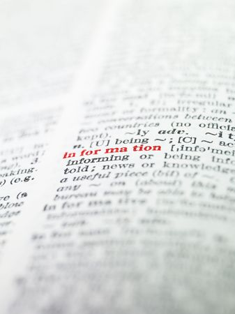 thesaurus: The word information highlighted in a dictionary Stock Photo