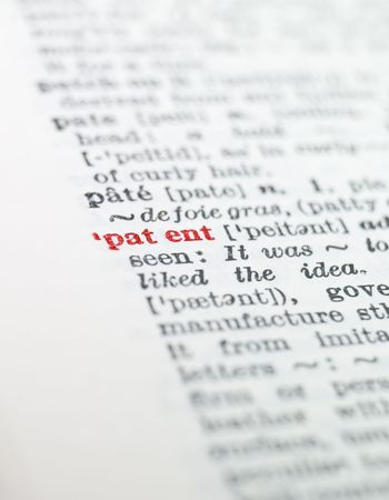 printing out: The word patent highlighted in a dictionary Stock Photo