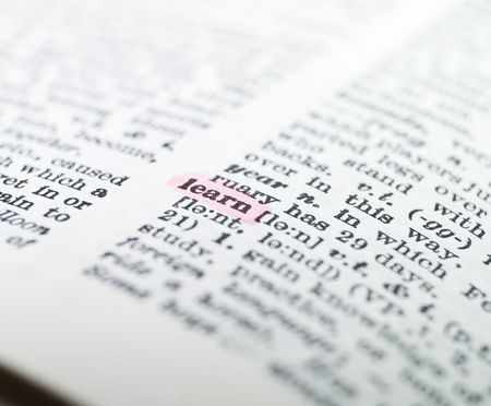synonym: the word learn highlighted in a dictionary