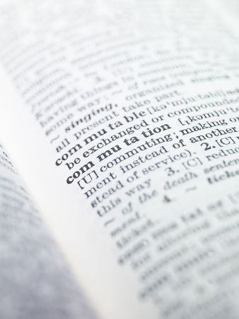 thesaurus: the word commutation highlighted in a dictionary