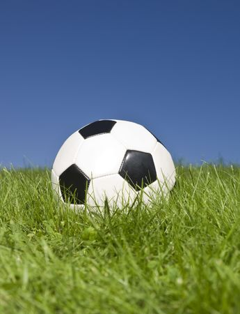 Black and white football in green grass. Stock Photo - 5531458