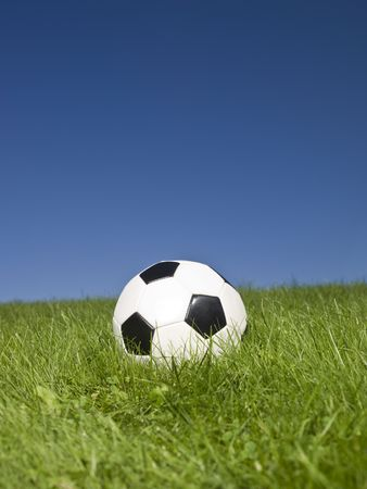 Black and white football in green grass. Stock Photo - 5531461