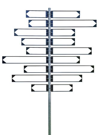 A blank signpost with eighteen arrows, nine to the left and nine to the right. Stock Photo - 5638944
