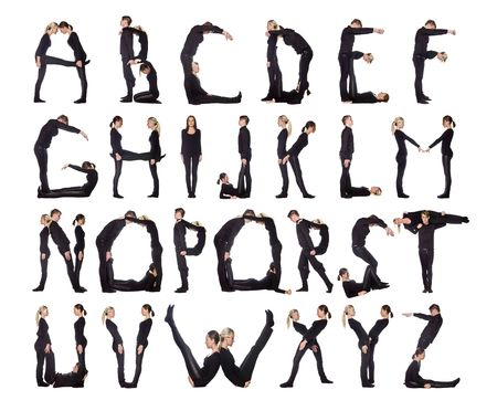 c r t: Group of black dressed people forming the alphabet. Stock Photo