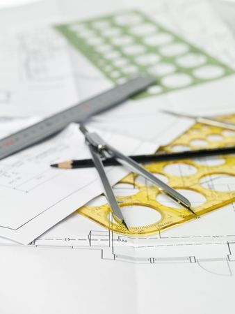 drawing compass: Drawing compass, pen and ruler on blueprints Stock Photo
