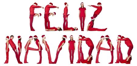 elf's: Elfs forming the phrase FELIZ NAVIDAD isolated on white