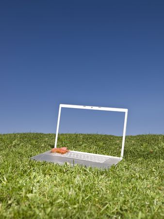 Laptop outdoors on a green field with a blue sky background Stock Photo - 5624555
