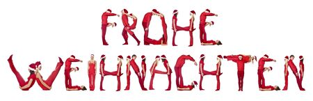 Group of elfs forming the phrase 'FROHE WEINACHTEN' against a white background Stock Photo - 5620088