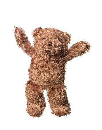 oso blanco: Feliz oso de peluche aislados sobre fondo blanco  Foto de archivo
