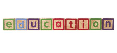 play blocks: The word education built of Play Blocks isolated on white background Stock Photo