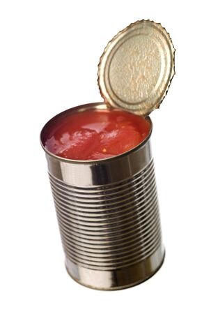 Tin Can with tomatoes isolated on white background photo