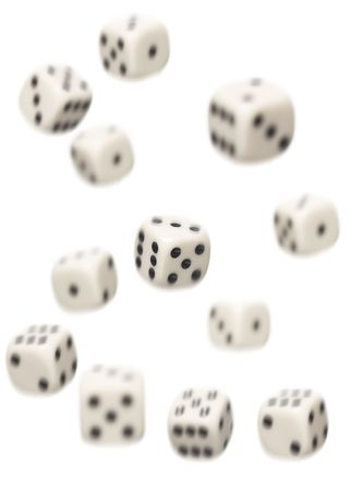dices falling isolated on white background photo