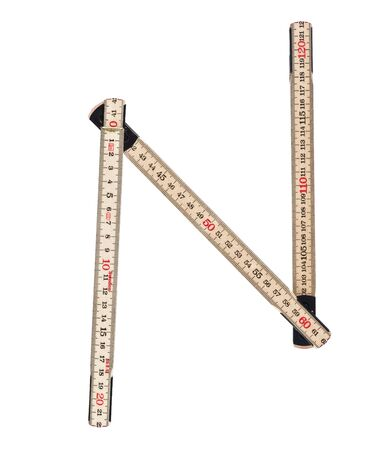 Letter N made of a folding ruler photo