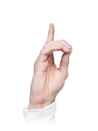 Letter D in sign language, isolated on a white background photo