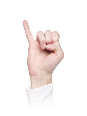 Letter J in sign language, isolated on a white background photo
