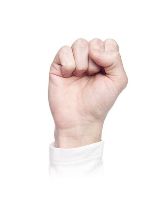 Letter S in sign language, isolated on a white background photo