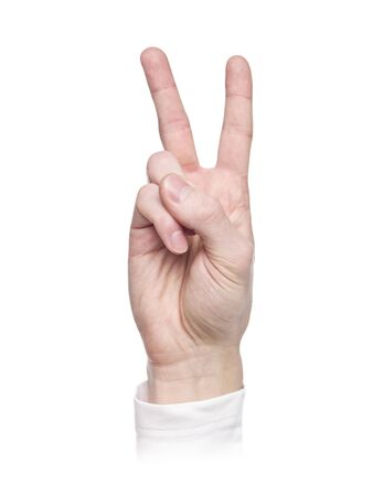 Letter V in sign language, isolated on a white background photo