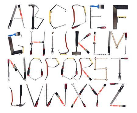 lettre s: Outils formant l'alphabet isol� contre un fond blanc