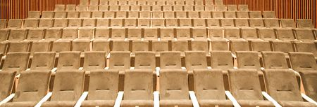 unattended: Empty seats in a row in a university hall Stock Photo