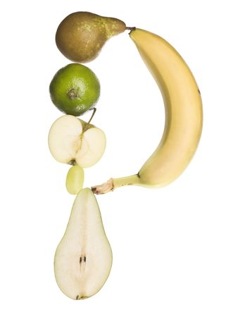 The letter P made out of fruit isolated on a white background photo