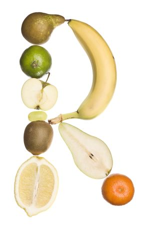 The letter R made out of fruit isolated on a white background photo