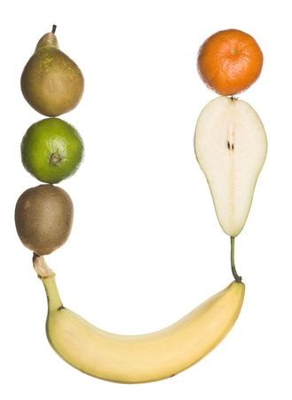 The letter U made out of fruit isolated on a white background photo