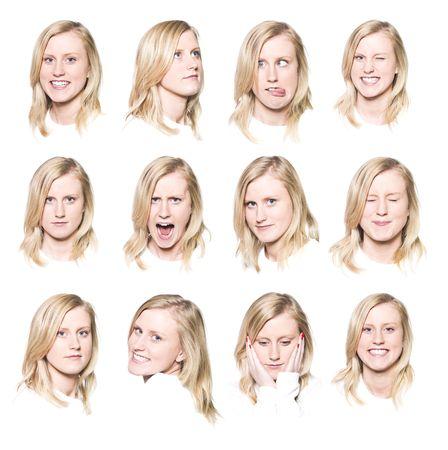 Twaalf portretten van een jonge vrouw met verschillende gezichtsuitdrukkingen Stockfoto