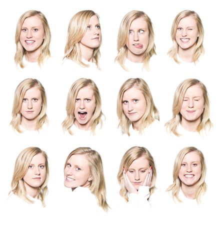 Twelve portraits of a young woman with different facial expressions photo