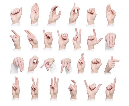 out of order: Hands forming the international sign language isolated against a white background Stock Photo