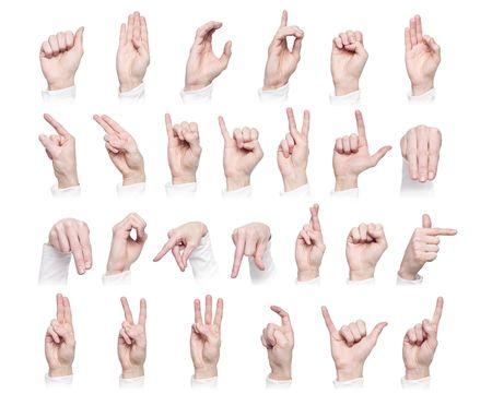 r image: Manos formando el idioma internacional de signo aislado contra un fondo blanco