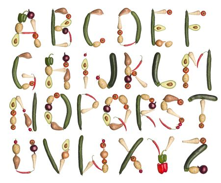 c r t: Vegetables forming the alphabet isolated on a white background