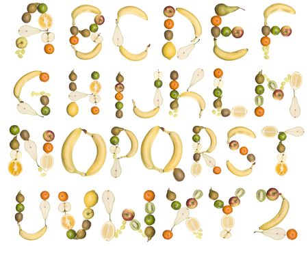Various fruits forming the alphabet isolated on a white background photo