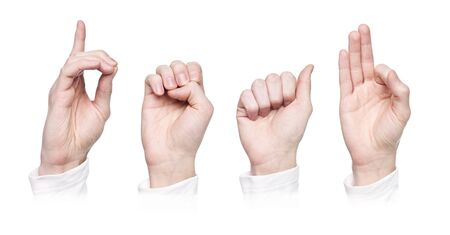 The word deaf in sign language, isolated on a white background photo