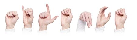 The word Silence made in sign language isolated on a white background photo