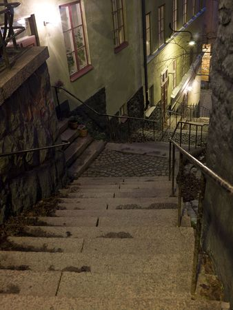 Alley with stairs at night in a city Stock Photo - 5981428