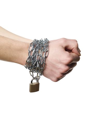Hands chained together isolated on a white background Stock Photo - 6090933