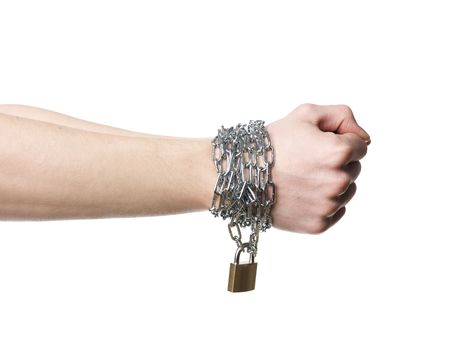 hard bound: Hands chained together isolated on a white background Stock Photo