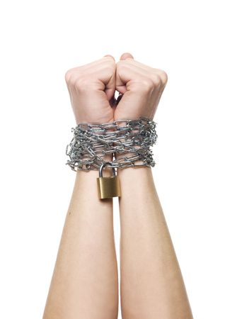 Hands chained together isolated on a white background photo