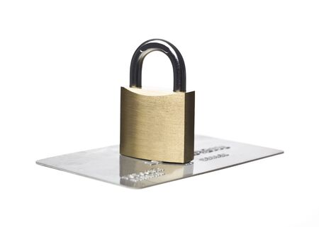 Credit card and a padlock isolated on a white background Stock Photo - 6090909