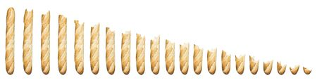 time lapse: Time lapse - Baguette being eaten isolated on a white background