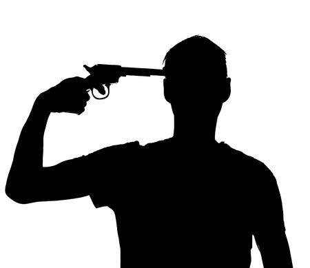 fear of failure: Silhouette of a man with a gun against his head Stock Photo