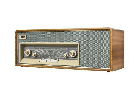 Old radio isolated on a white background photo