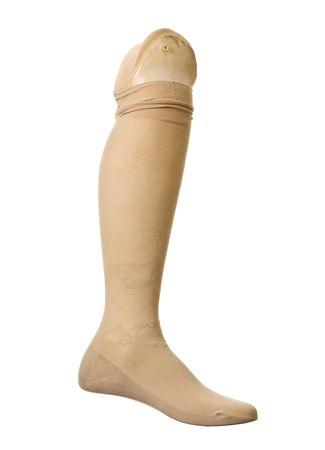 prosthetic: Old prosthetic leg isolated on a white background