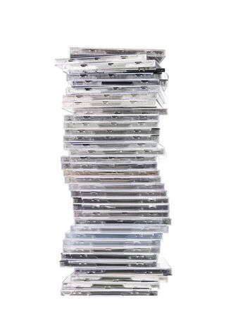 Big Stack of cd`s isolated on white background Stock Photo