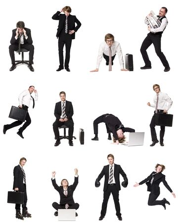 Collage of businessmen isolated on white background photo