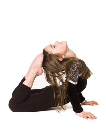 gymnastics girl: Young girl doing gymnastics isolated on white background
