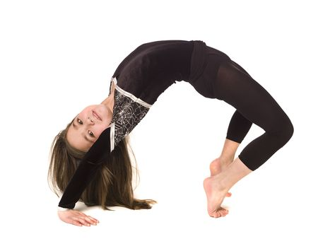 Young girl doing gymnastics isolated on white background